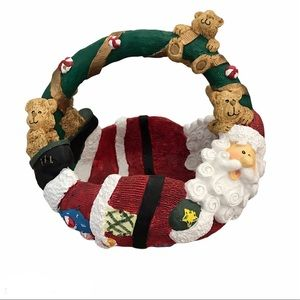 Vintage 90s Christmas Santa Teddy Candy Basket